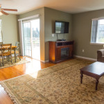 The spacious living room has views of Pudding Creek