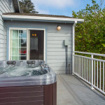 The hot tub is just outside your bedroom door